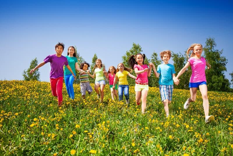 Enfants heureux courants tenant des mains dans le domaine vert photos stock