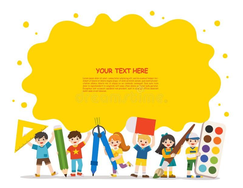 Enfants heureux d'école avec des éléments d'école illustration stock