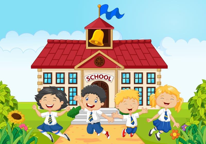 Enfants heureux d'école devant l'école bilding illustration libre de droits