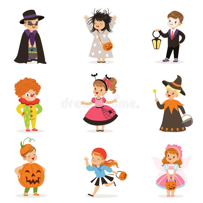 Enfants heureux d'Ute les petits dans différents costumes colorés de Halloween placent, tour d'enfants de Halloween ou vecteur de illustration libre de droits