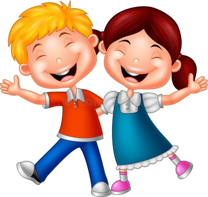 Enfants heureux de bande dessinée illustration stock