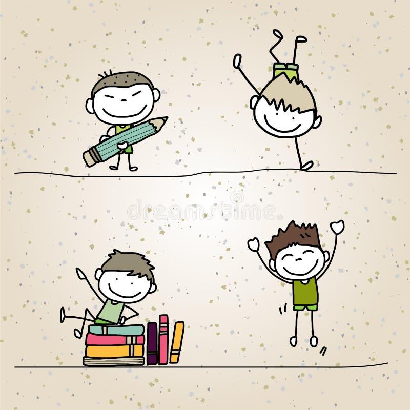 Enfants heureux de bande dessinée de dessin de main illustration de vecteur