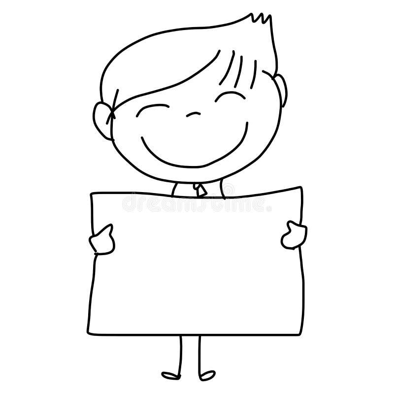 Enfants heureux de bande dessinée de dessin de main illustration stock