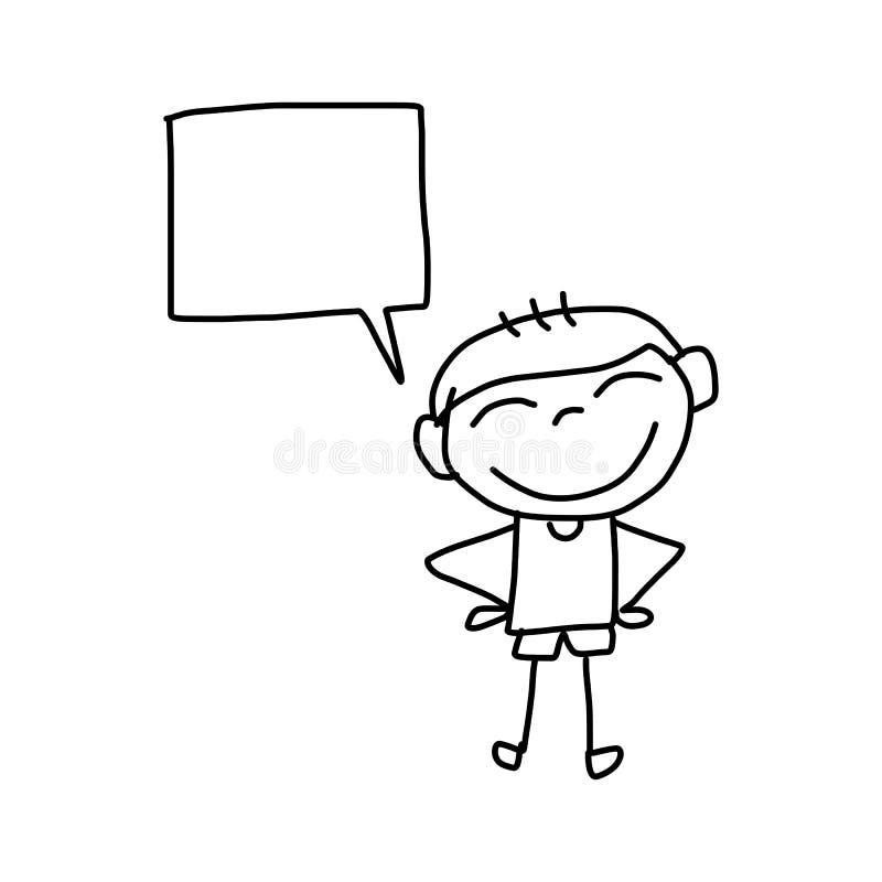 Enfants heureux de bande dessinée de dessin de main illustration libre de droits