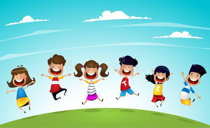 Enfants heureux de bande dessinée sautant ensemble illustration stock