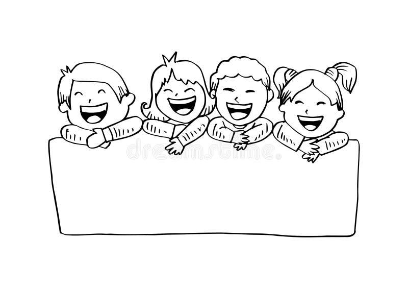 Enfants heureux de bande dessinée tenant la bannière illustration stock