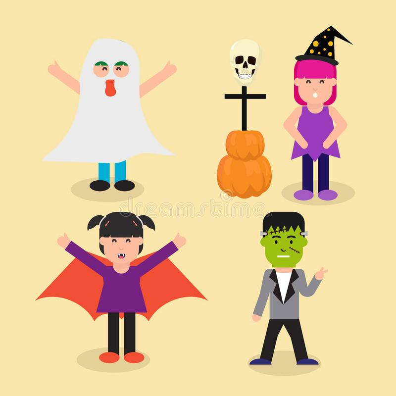 Enfants heureux de caractère d'expresion avec le jour de Halloween illustration stock