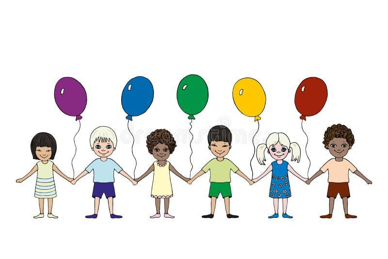 Enfants heureux de différentes courses avec des ballons Jour international du ` s d'enfants photos stock