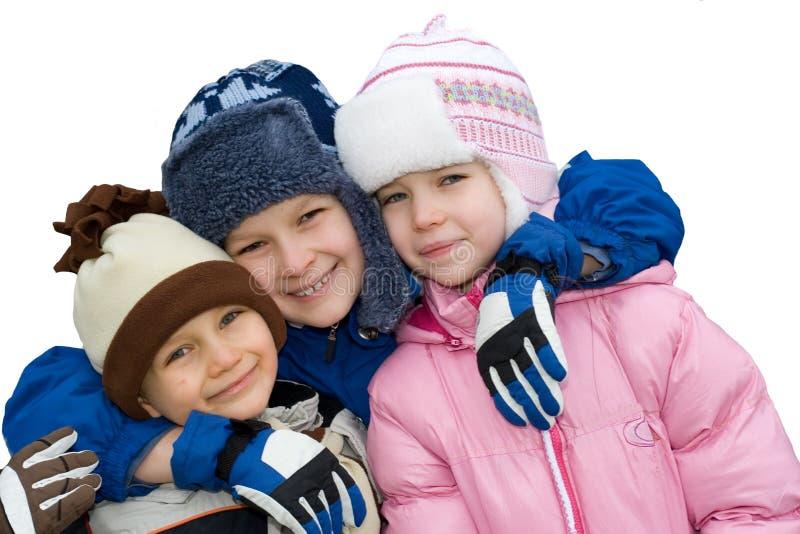 Enfants heureux de l'hiver photos stock