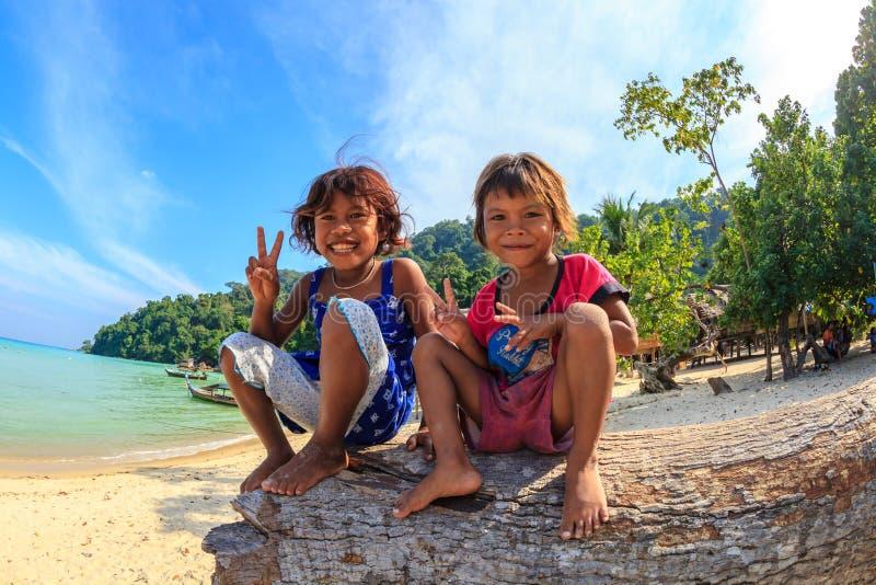 Enfants heureux de Moken photos libres de droits
