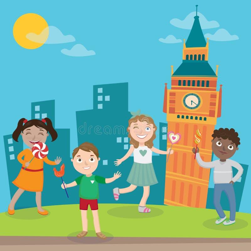 Enfants heureux des vacances à Londres Vecteur illustration stock