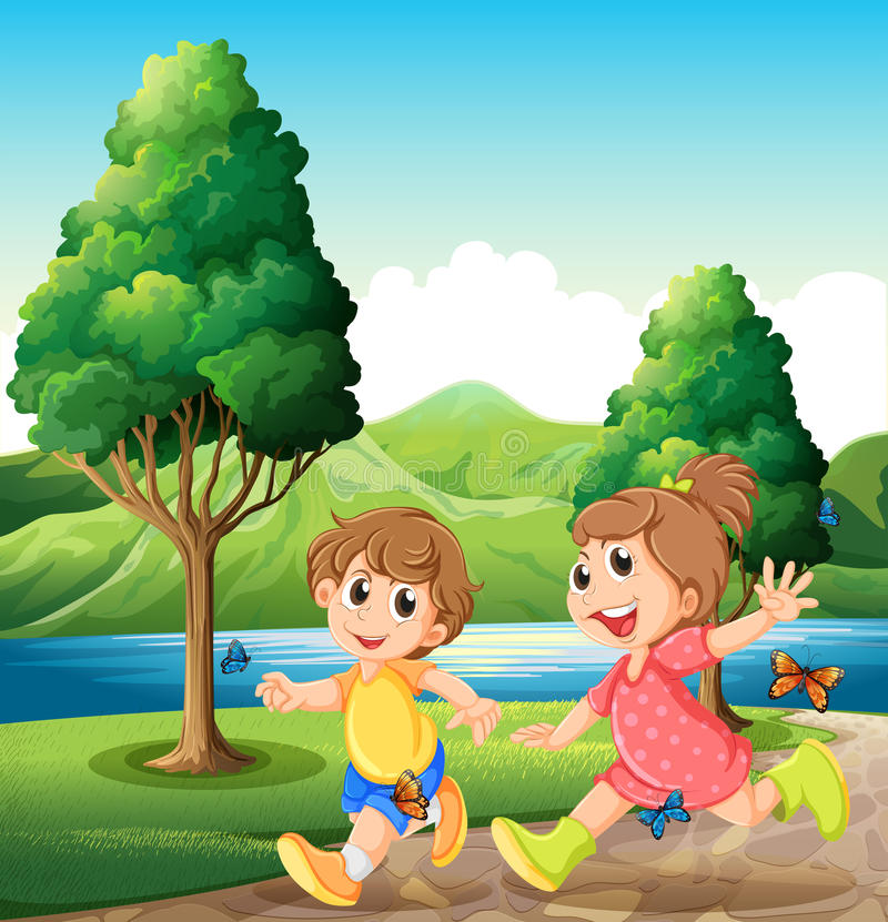 Enfants heureux et énergiques jouant près de la rivière illustration de vecteur