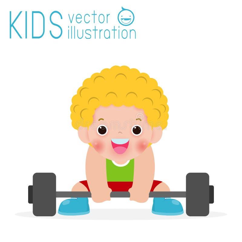 Enfants heureux exerçant l'haltérophilie d'isolement sur le fond, les enfants et l'illustration blancs de vecteur de sport illustration libre de droits