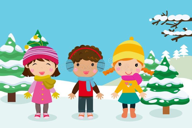 Enfants heureux jouant dans la neige illustration de vecteur