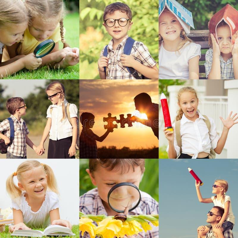 Enfants heureux jouant dehors au temps de jour photo libre de droits