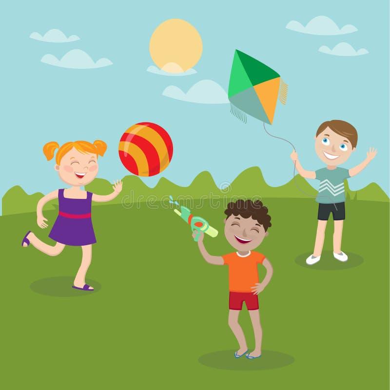 Enfants heureux jouant sur la nature Fille avec la boule Le garçon lance le cerf-volant Garçon avec l'arme à feu d'eau illustration libre de droits