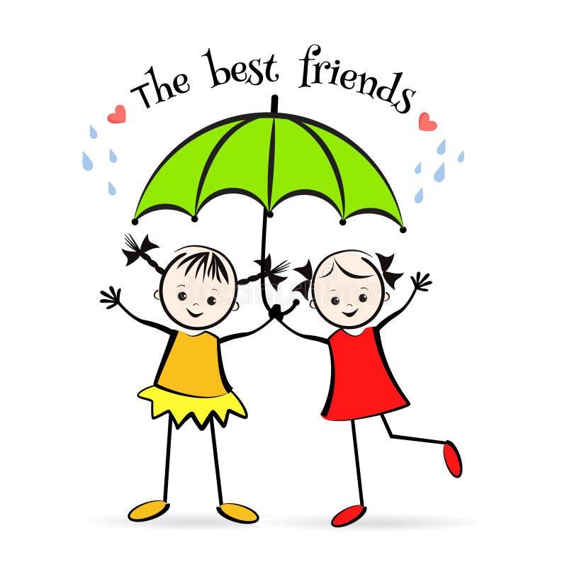 Enfants heureux Les meilleurs amis illustration libre de droits