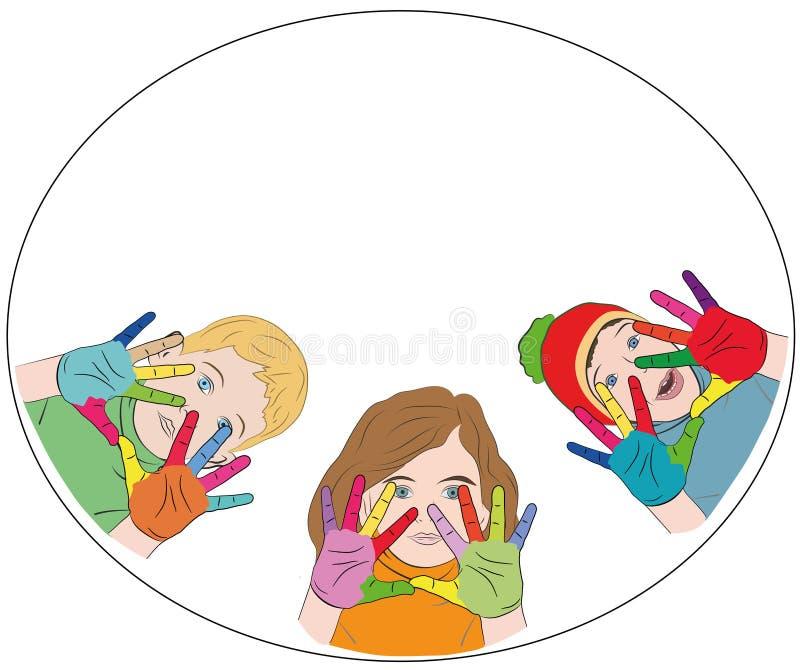 Enfants heureux mains peintes de différentes couleurs logo concept de jour heureux du ` s d'enfants Illustration de vecteur illustration de vecteur