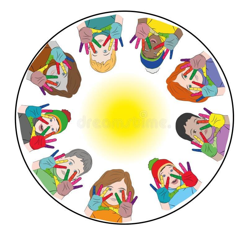 Enfants heureux mains peintes de différentes couleurs logo concept de jour heureux du ` s d'enfants Illustration de vecteur illustration stock