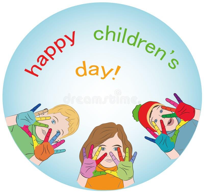 Enfants heureux mains peintes de différentes couleurs logo concept de jour heureux du ` s d'enfants Illustration de vecteur illustration libre de droits