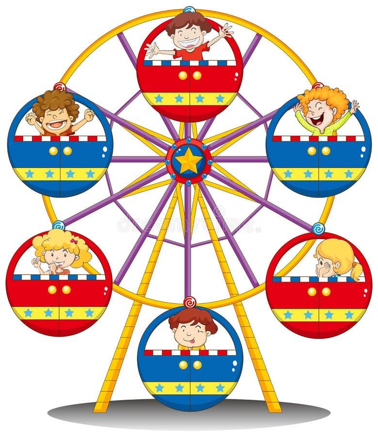 Enfants heureux montant la roue de ferris illustration de vecteur
