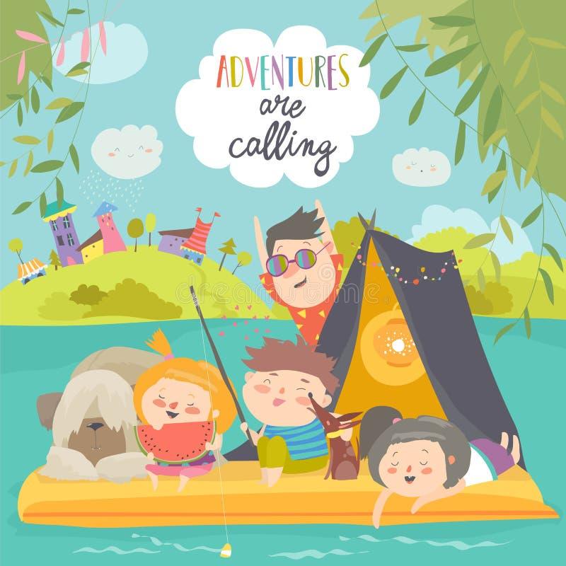 Enfants heureux montant sur le radeau sur le lac Peu amis flottant dans un radeau sur l'étang illustration libre de droits