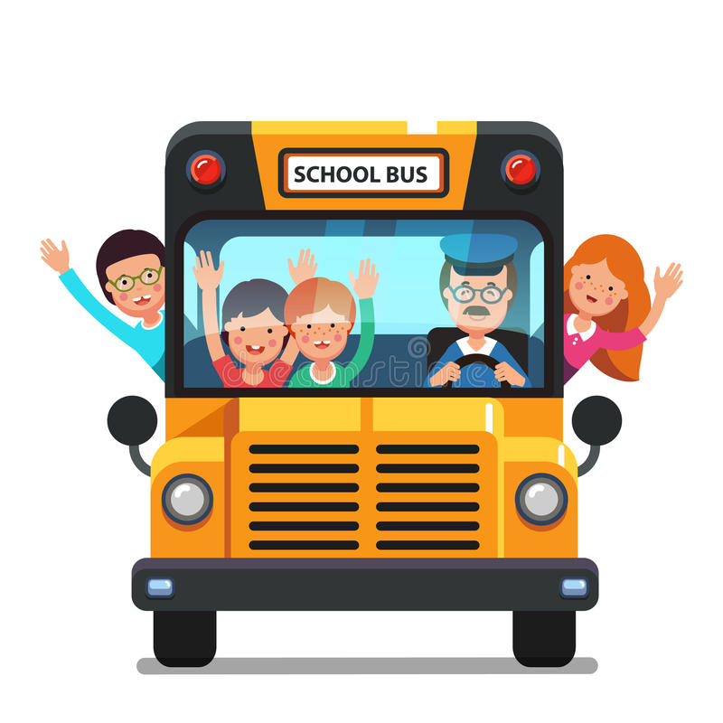 Enfants heureux montant sur un autobus scolaire avec le conducteur illustration stock