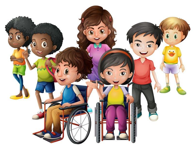Enfants heureux se tenant et sur des fauteuils roulants illustration de vecteur