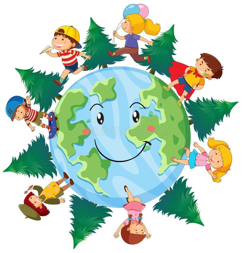 Enfants heureux sur terre illustration de vecteur
