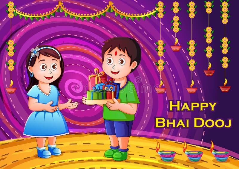 Enfants indiens célébrant Bhai heureux Dooj sur le fond coloré de style d'art de l'Inde illustration stock