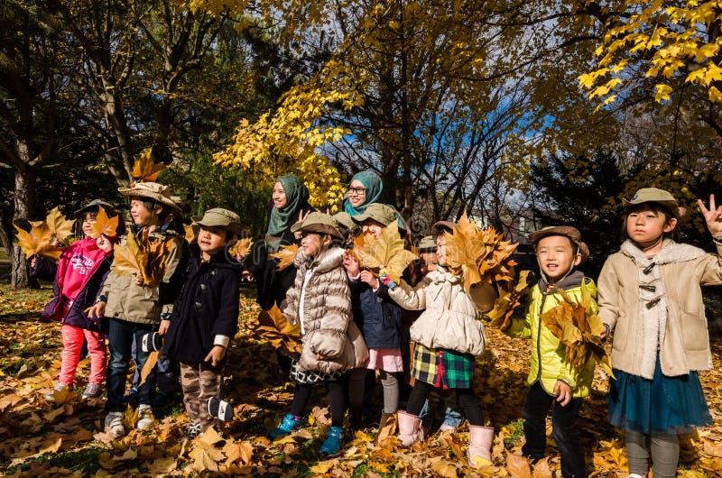Enfants japonais ayant l'amusement avec des feuilles d'automne image stock