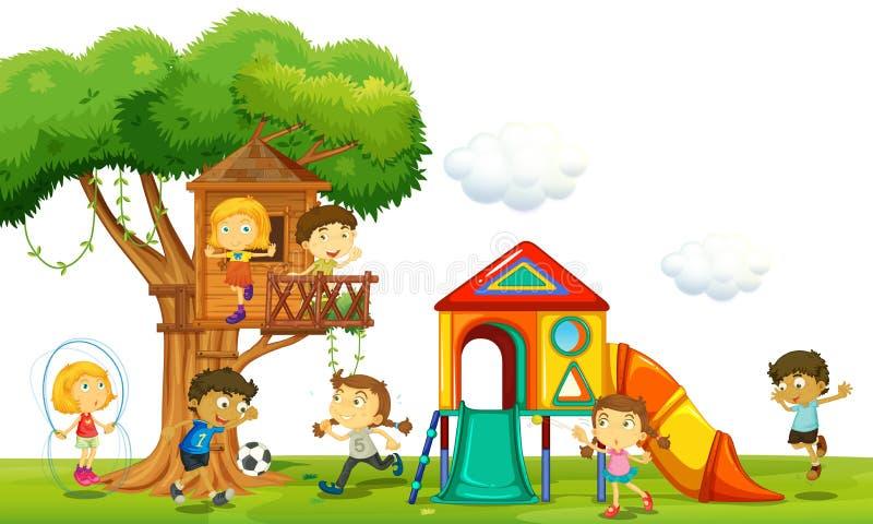 Enfants jouant à la cabane dans un arbre en parc illustration de vecteur