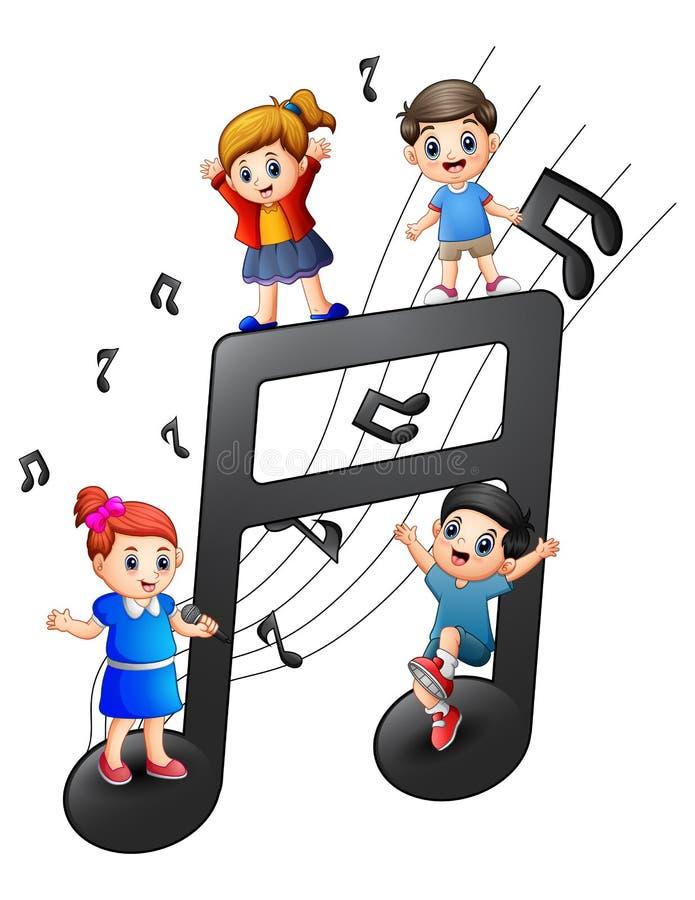 Enfants jouant ainsi que des notes illustration de vecteur