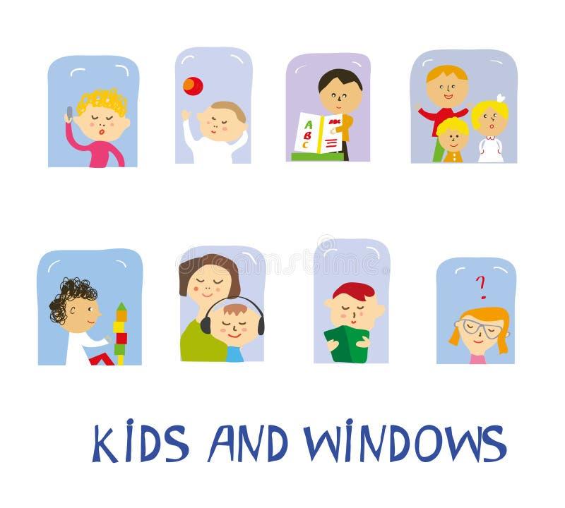Enfants jouant, apprenant et ayant l'amusement réglé à la maison près des fenêtres, illustration graphique illustration de vecteur