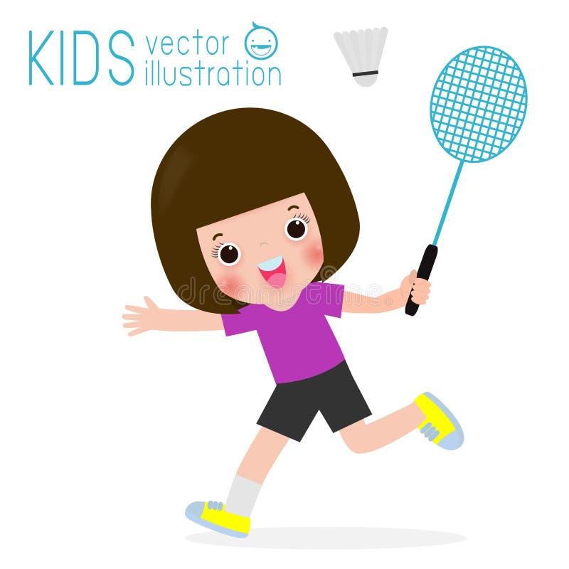 Enfants jouant au badminton d'isolement sur le fond, les enfants et l'illustration blancs de vecteur de sport illustration stock