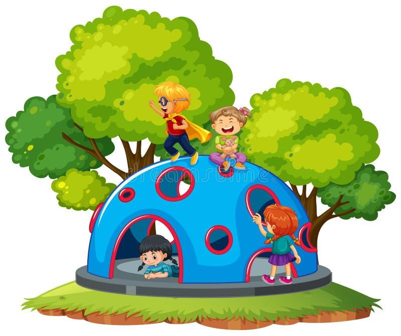 Enfants jouant au dôme s'élevant illustration stock