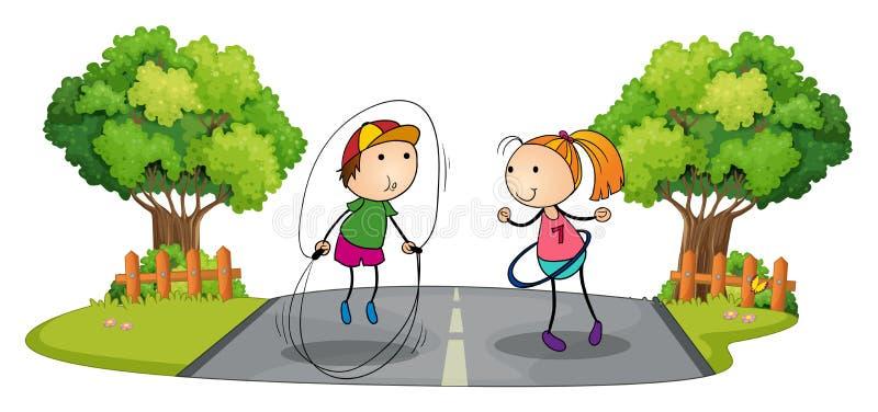 Enfants jouant au milieu de la rue illustration libre de droits