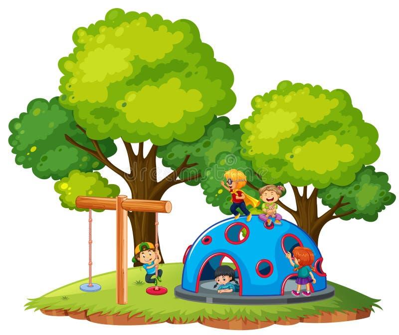 Enfants jouant au parc illustration de vecteur