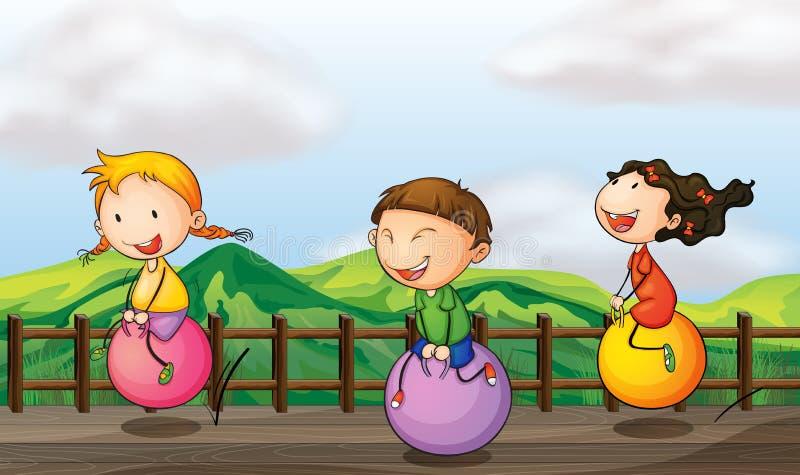 Enfants jouant au pont illustration stock