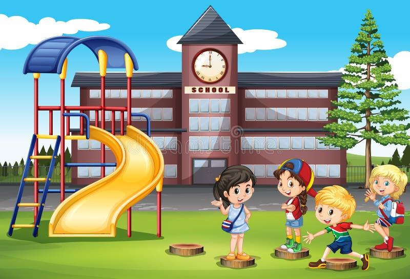 Enfants jouant au terrain de jeu d'école illustration libre de droits