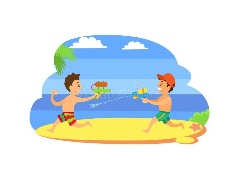 Enfants jouant avec des armes à feu avec le vecteur de l'eau, enfants illustration de vecteur