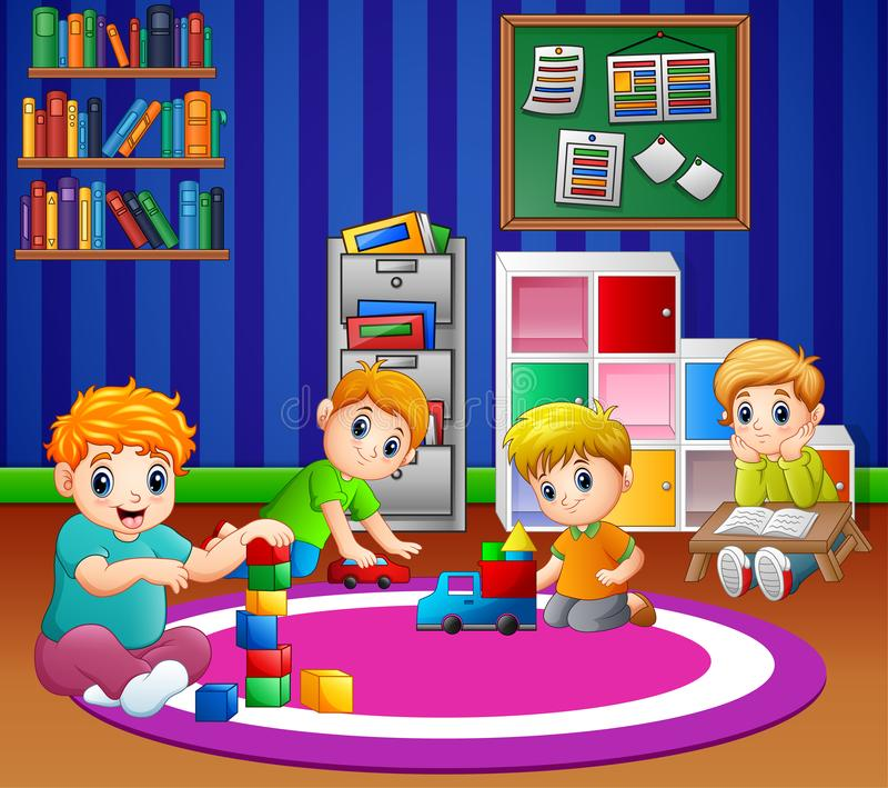 Enfants jouant avec des jouets dans la salle de jeux du jardin d'enfants illustration de vecteur