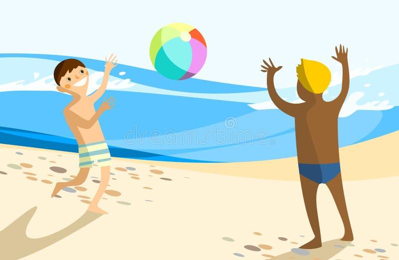 Enfants jouant avec la bille de plage illustration stock