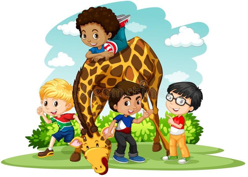 Enfants jouant avec la girafe illustration de vecteur