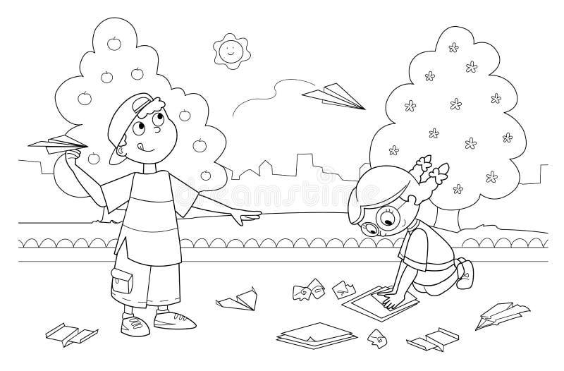 Enfants jouant avec les avions de papier illustration de vecteur