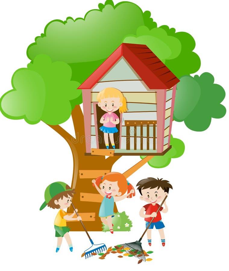 Enfants jouant dans la cabane dans un arbre illustration libre de droits