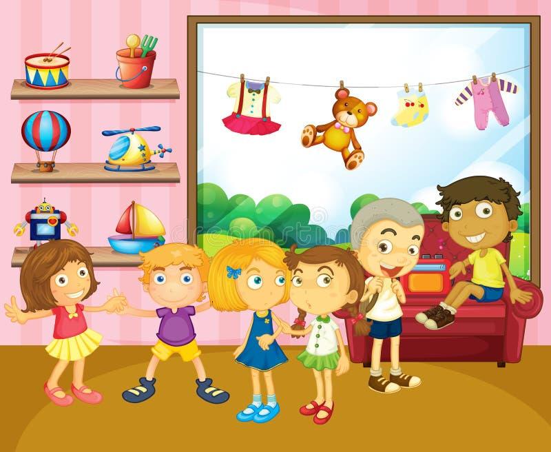 Enfants jouant dans la chambre illustration stock