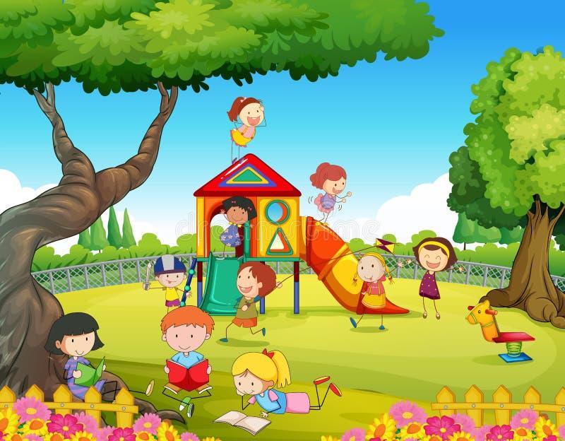 Enfants jouant dans le terrain de jeu illustration de vecteur