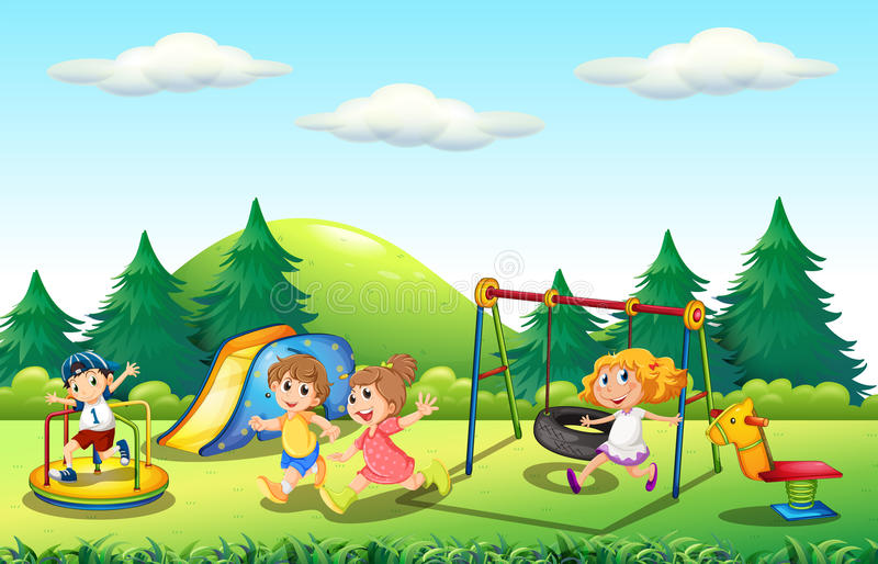 Enfants jouant dans le terrain de jeu illustration libre de droits