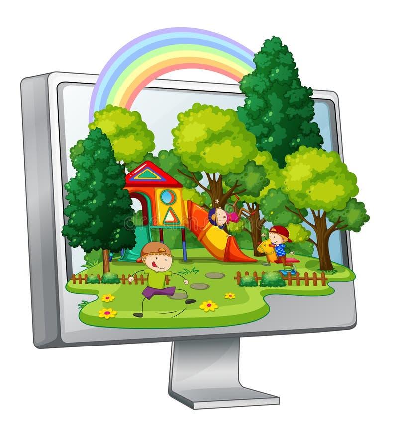 Enfants jouant dans le terrain de jeu sur l'écran d'ordinateur illustration libre de droits